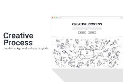 Plantilla Web de Fondo de Doodle de Proceso Creativo