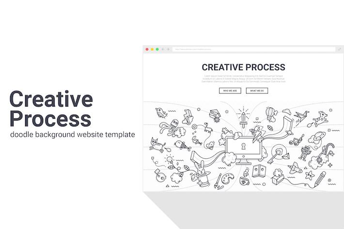 Thumbnail for Plantilla Web de Fondo de Doodle de Proceso Creativo