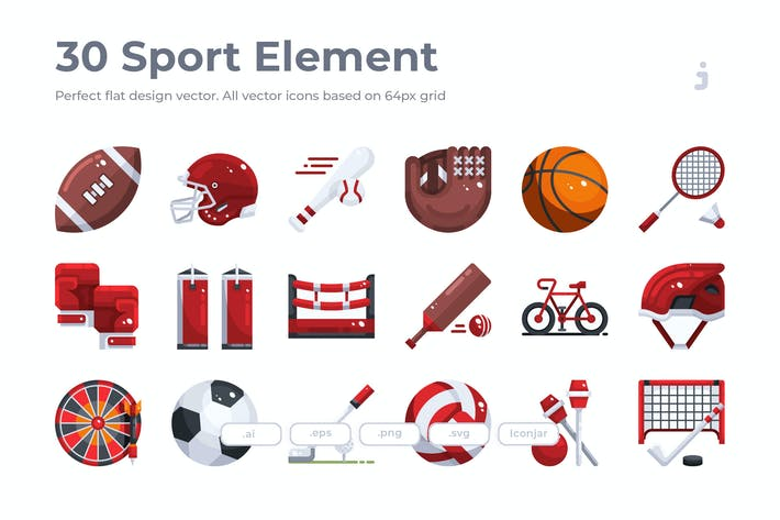 Thumbnail for 30 Sport Element Icons - Flat