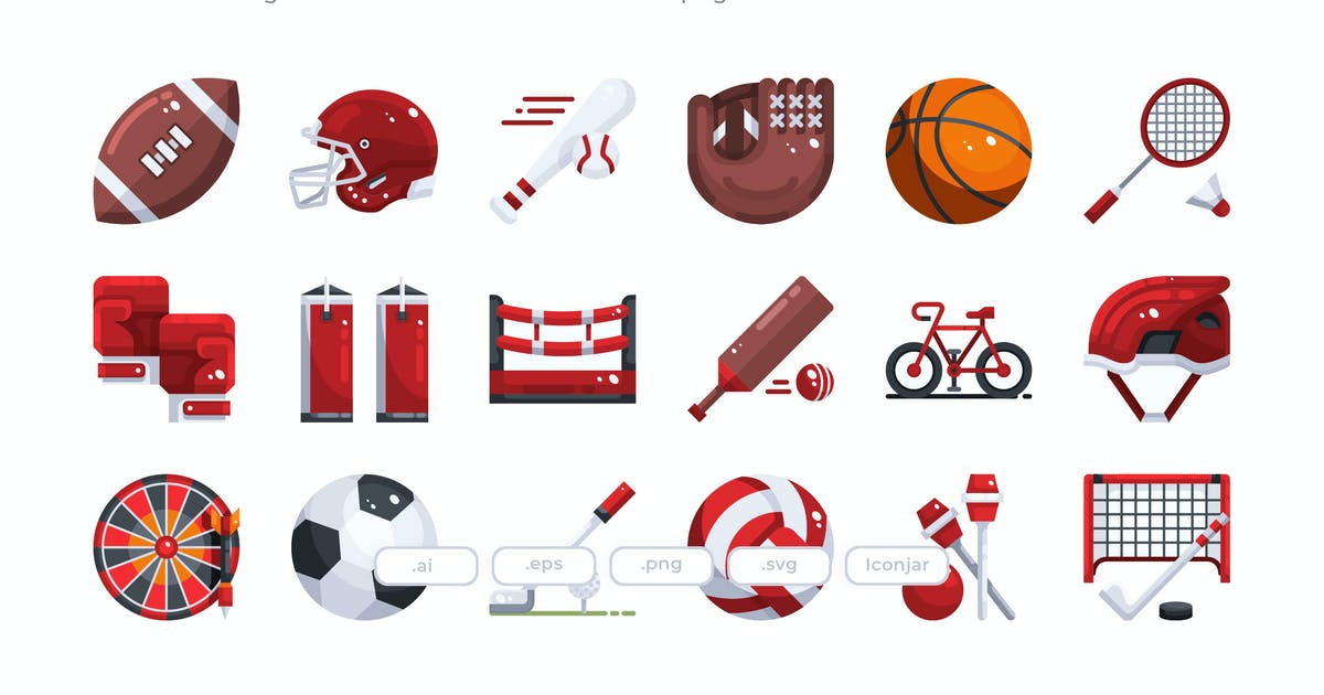 Download 30 Sport Element Icons - Flat by Justicon