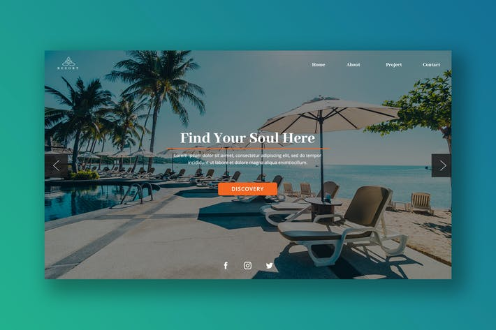 Thumbnail for Beach Vacation Hero Header PSD Template