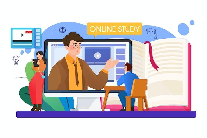 Concepto de ilustración de Vector de educación en línea