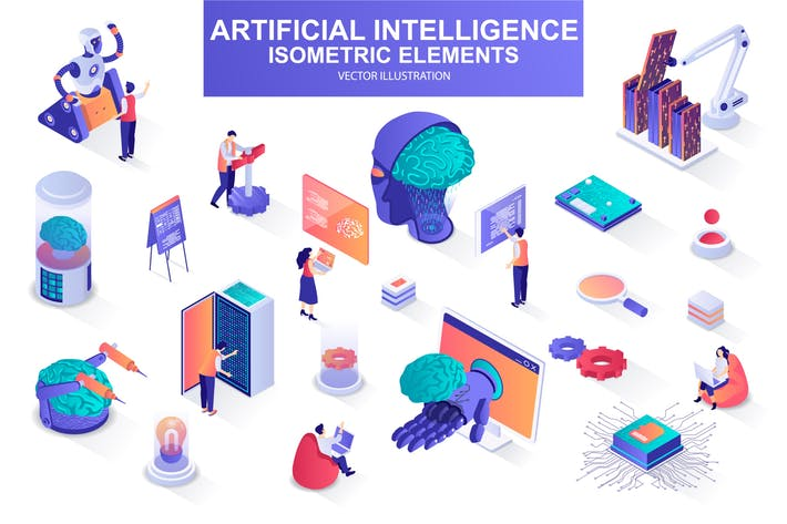 Thumbnail for Artificial Intelligence Isometric Design Elements