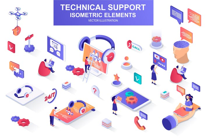 Thumbnail for Technical Support Isometric Design Elements