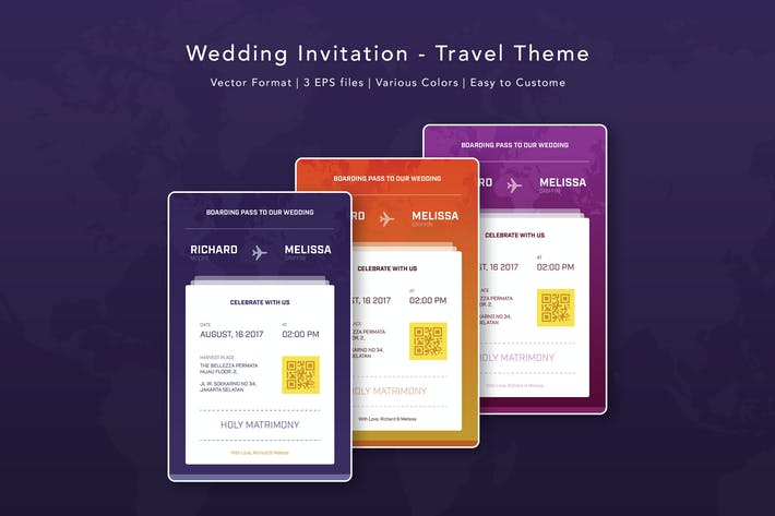 Cover Image For Wedding Invitation - Travel Theme