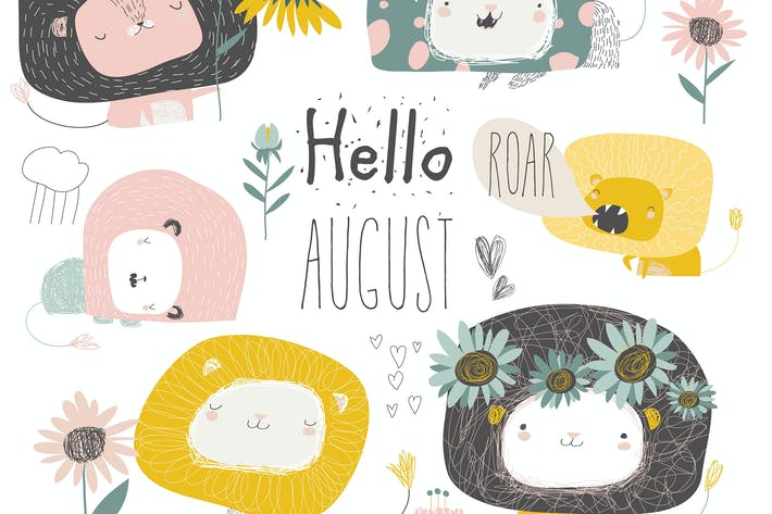 Thumbnail for Vector set of cute lions and flowers. Hello august