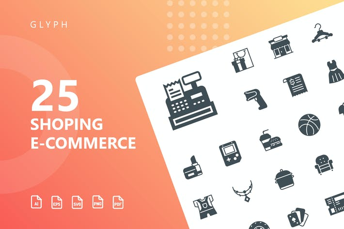 Thumbnail for Shopping E-Commerce Glyph Icons