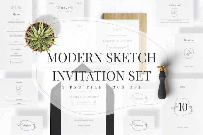Thumbnail for Modern Sketch Invitation Set