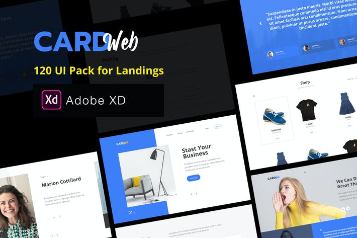 Thumbnail for Web UI Card Pack Landing Pages - XD Version