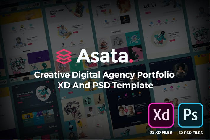 Thumbnail for Asata Creative Agency Portfolio XD & PSD Template