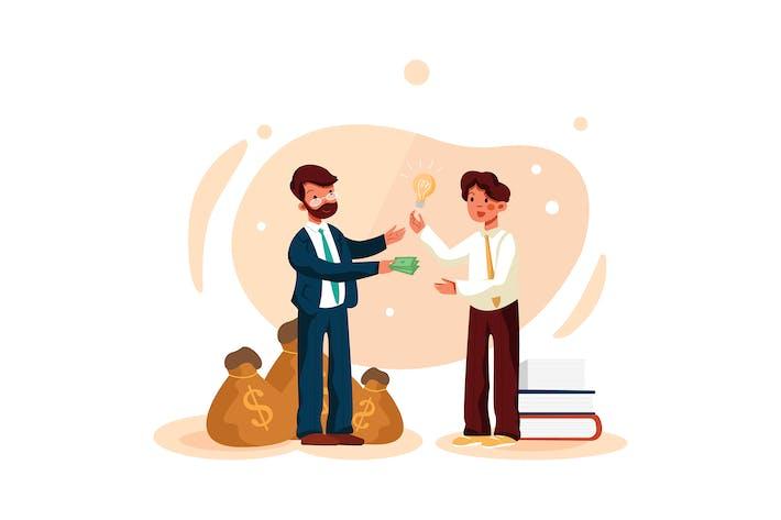 Thumbnail for Businessmen at deal for money illustration concept
