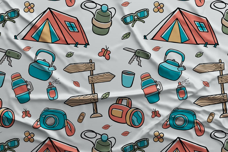 Camping Seamless Pattern #03