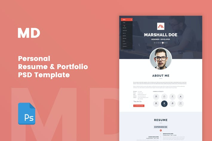 Thumbnail for MD - Resume & Portfolio PSD Template
