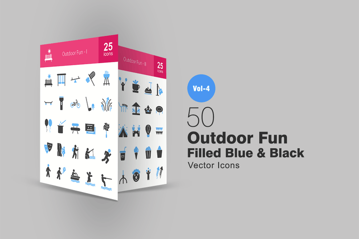 Cover Image For 50 Outdoor Fun Blue & Black Icons