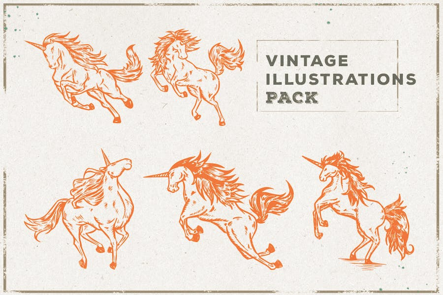 Vintage Unicorn Illustration Pack