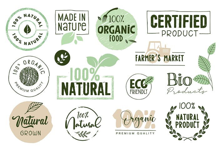 Thumbnail for Organic Food Labels and Elements Collection