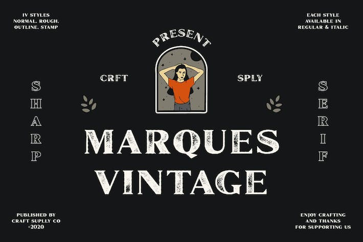 Thumbnail for Marques Vintage Font Family