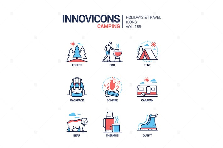 Thumbnail for Camping - modern line design style icons set
