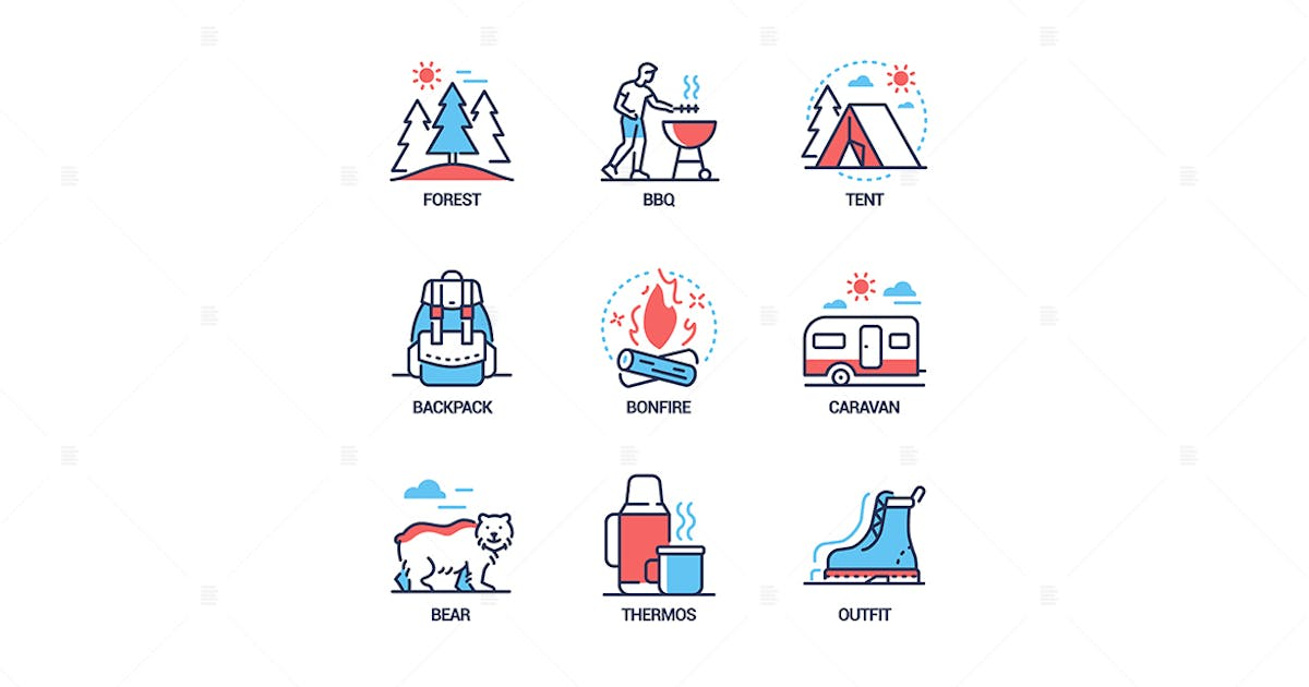 Download Camping - modern line design style icons set by BoykoPictures