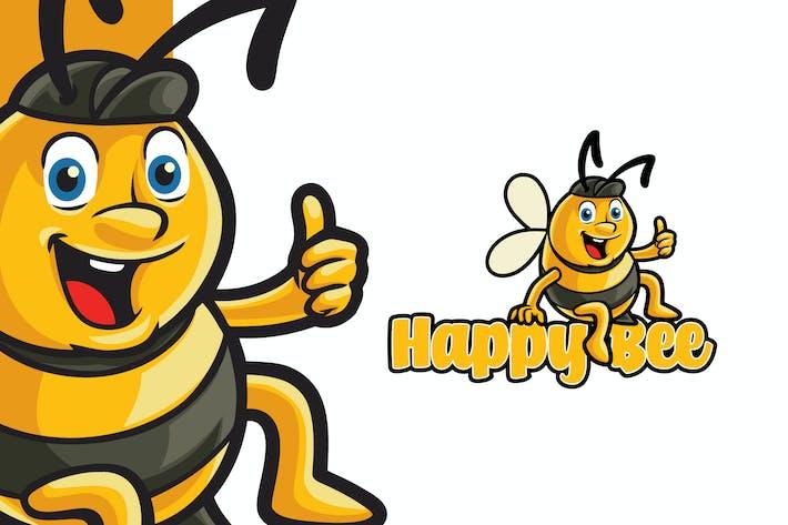 Thumbnail for Happy Bee Logo Mascot Template