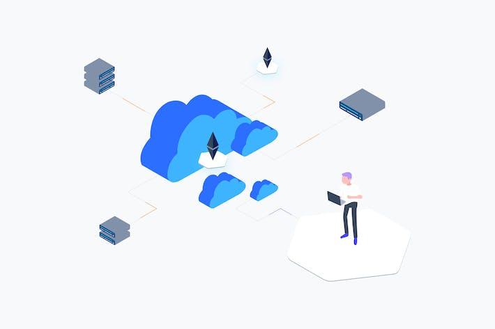 Thumbnail for Ilustración isométrica de Blockchain Cloud Computing