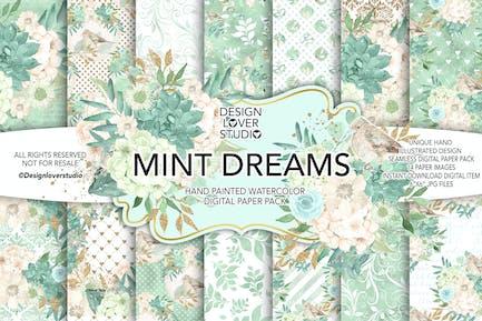 Watercolor MINT DREAM digital paper pack