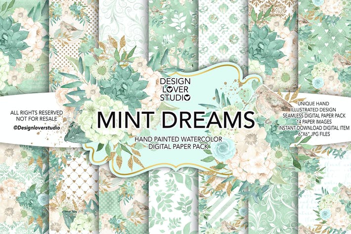 Thumbnail for Watercolor MINT DREAM digital paper pack
