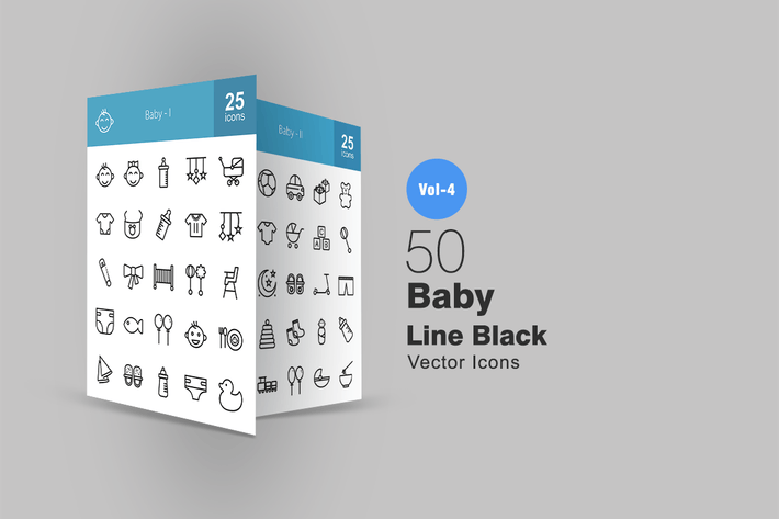 Thumbnail for 50 Baby Line Icons