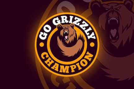 Bear Emblem - Sporty Dynamic Bear Logo