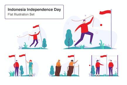 Indonesia Independence Day Illustration Set