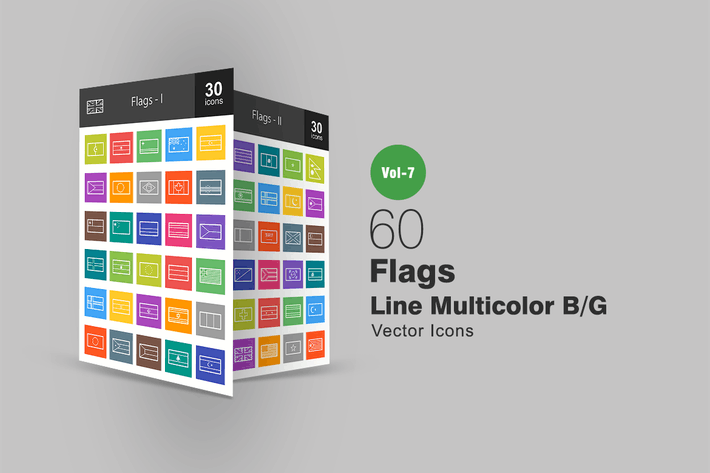 Thumbnail for 60 Flags Line Multicolor B/G Icons