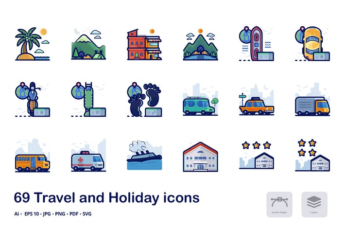 Thumbnail for Travel and holiday filled outline icons