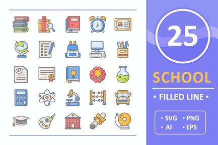 25 School Icons ( Filled Line )