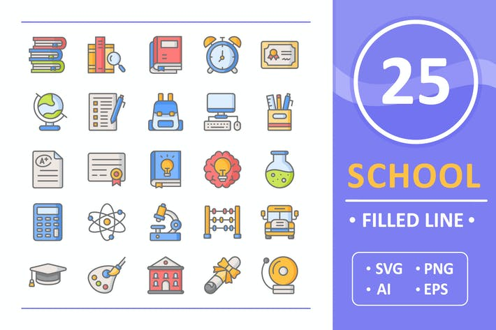 Thumbnail for 25 School Icons ( Filled Line )