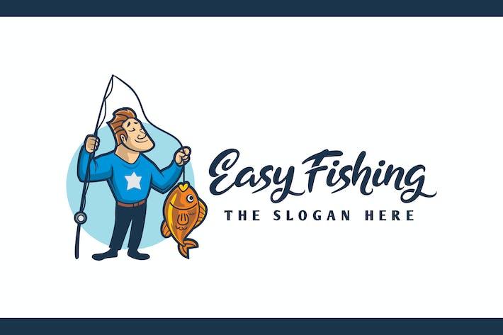 Thumbnail for Cartoon Angler Character Mascot Logo
