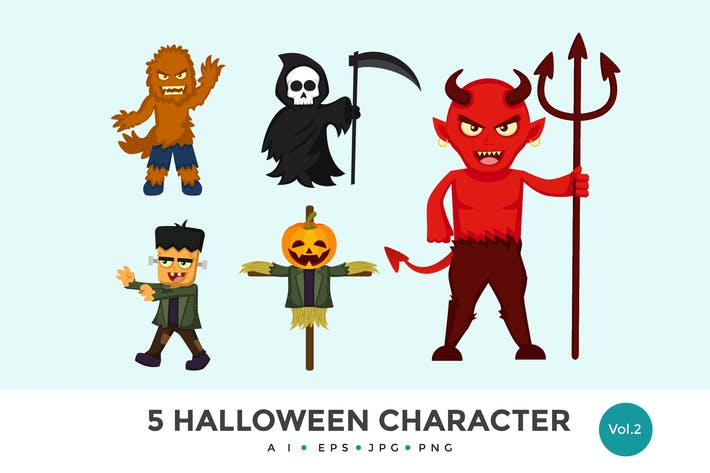 Thumbnail for 5 Cute Halloween Monster Vector Character Set 2