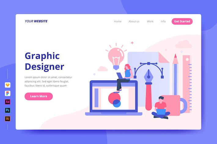 Thumbnail for Graphic Designer - Landing Page