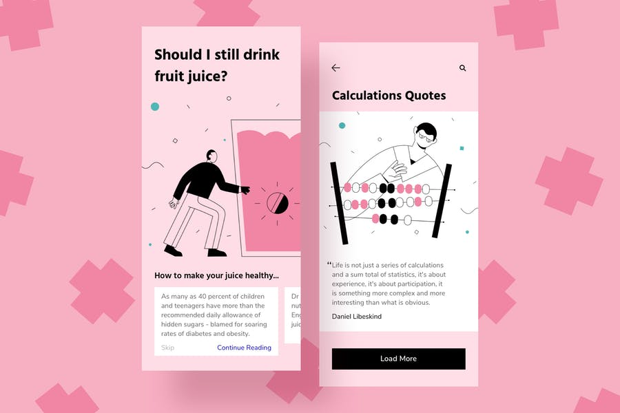 Juice Mobile Interface Illustrations