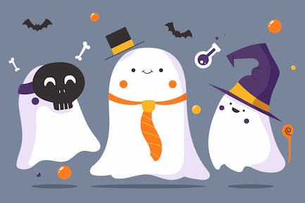 Adorable Ghost Party - Flat Illustration