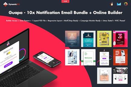 Guapa - 10x Notification Email Bundle + Builder