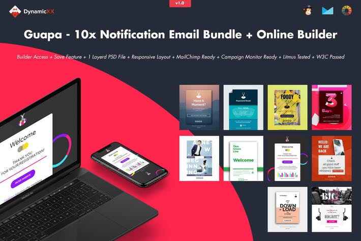 Cover Image For Guapa - 10x Notification Email Bundle + Builder