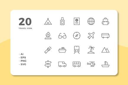 20 Travel Icons (Line)