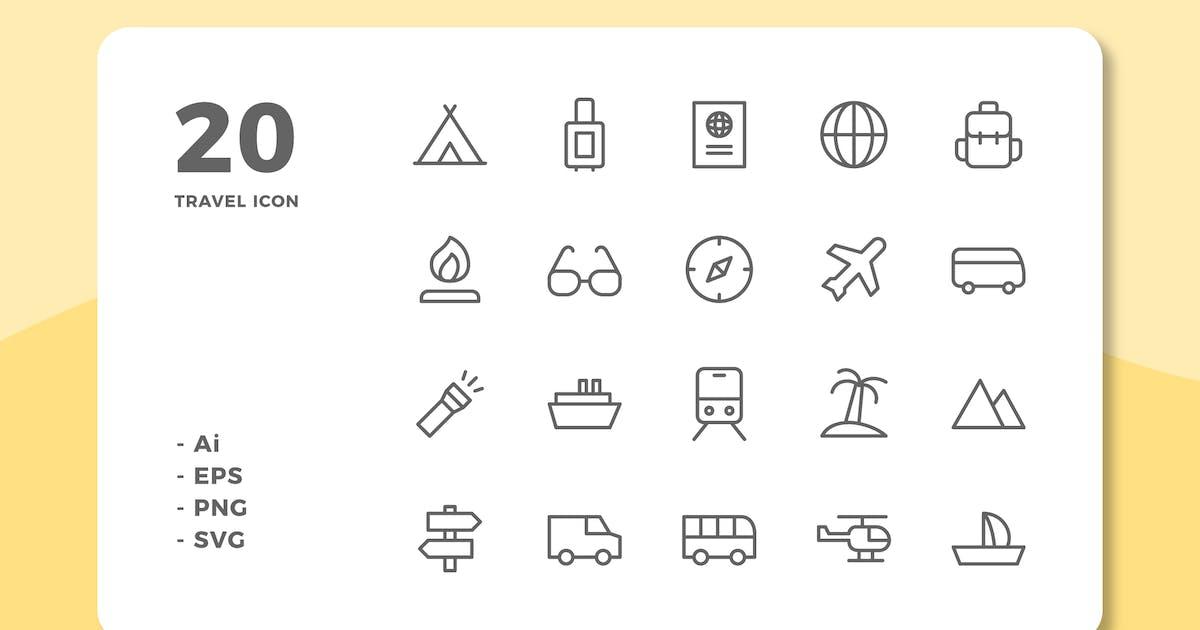 Download 20 Travel Icons (Line) by deemakdaksinas