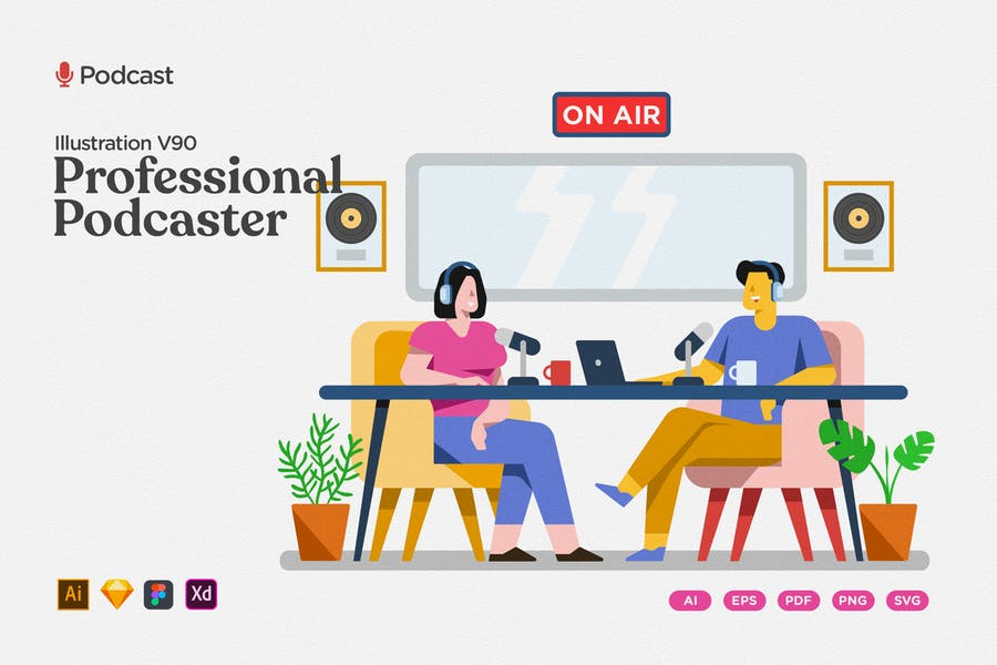Podcast Illustration - Professional Hi Tech Studio