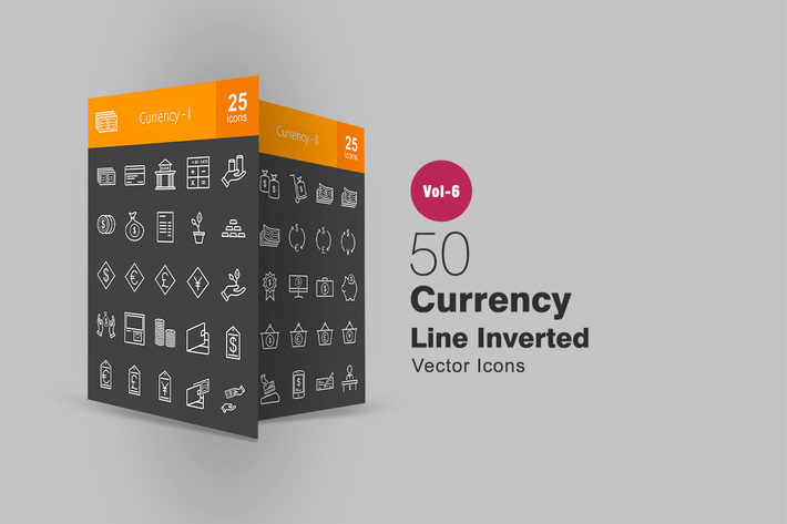 Thumbnail for 50 Currency Line Inverted Icons