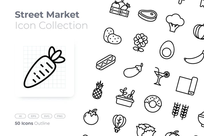 Thumbnail for Street Market Outline Icon