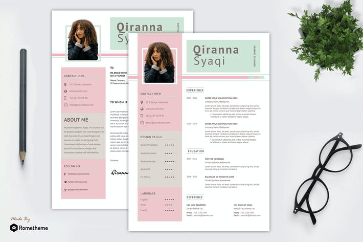 Thumbnail for Qiranna Shaqi - Creative Resume Template SN