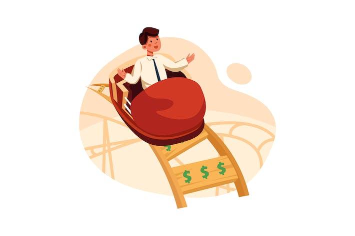 Thumbnail for Businessman on money roller coaster