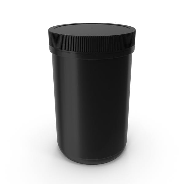 Plastic Jar Wide Mouth Straight Sided 40oz Closed Black