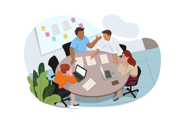 Thumbnail for Group of people working out business plan